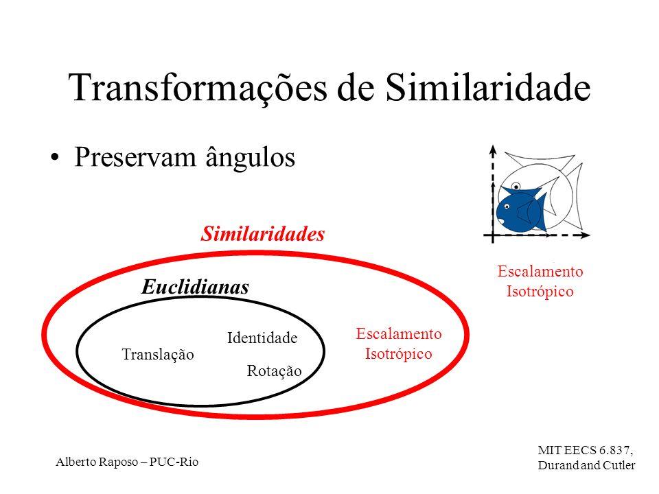 Alberto Raposo – PUC-Rio Transformações de Similaridade Preservam ângulos Translação Rotação Euclidianas Similaridades Escalamento Isotrópico Identidade MIT EECS 6.837, Durand and Cutler Escalamento Isotrópico