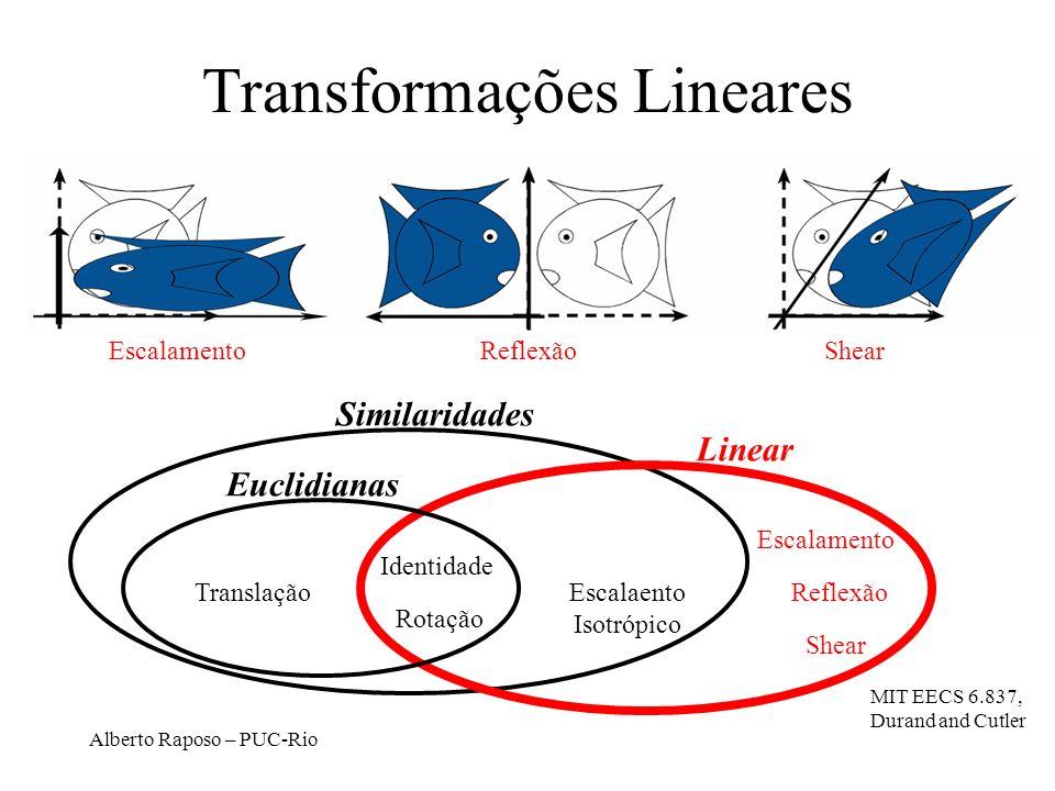 Alberto Raposo – PUC-Rio Transformações Lineares Translação Rotação Euclidianas Linear Similaridades Escalaento Isotrópico Identidade Escalamento Shear Reflexão EscalamentoReflexãoShear MIT EECS 6.837, Durand and Cutler