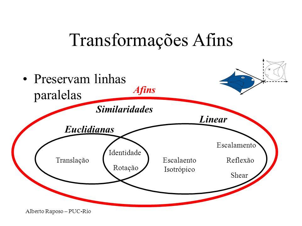 Alberto Raposo – PUC-Rio Transformações Afins Preservam linhas paralelas Afins Translação Rotação Euclidianas Linear Similaridades Escalaento Isotrópico Identidade Escalamento Shear Reflexão