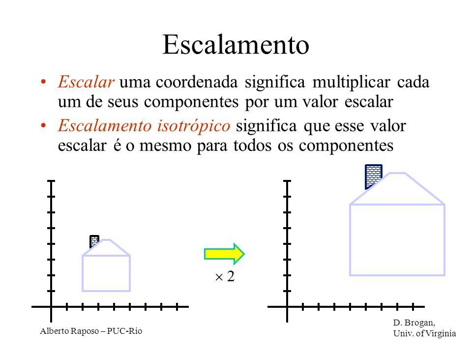Alberto Raposo – PUC-Rio Escalamento Escalar uma coordenada significa multiplicar cada um de seus componentes por um valor escalar Escalamento isotrópico significa que esse valor escalar é o mesmo para todos os componentes 2 D.