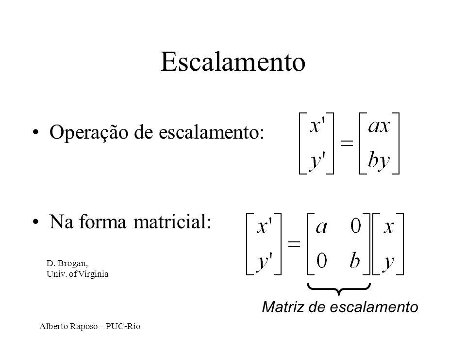 Alberto Raposo – PUC-Rio Escalamento Operação de escalamento: Na forma matricial: Matriz de escalamento D.