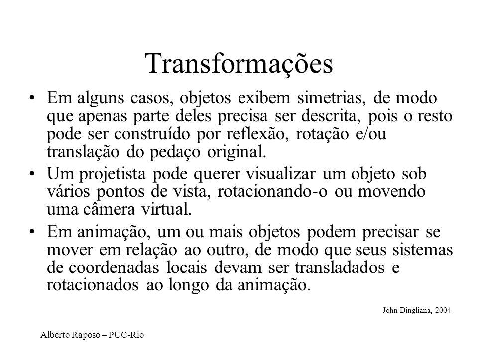 Alberto Raposo – PUC-Rio Transformações 2D Básicas Translação: –x = x + t x –y = y + t y Escalamento: –x = x * s x –y = y * s y Rotação: –x = x*cos - y*sin –y = x*sin + y*cos Podem ser combinadas com álgebra simples D.