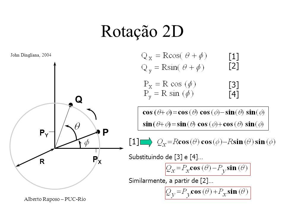 Alberto Raposo – PUC-Rio Rotação 2D P Q R PXPX PYPY [1] [2] [3] [4] [1] Substituindo de [3] e [4]… Similarmente, a partir de [2]… John Dingliana, 2004