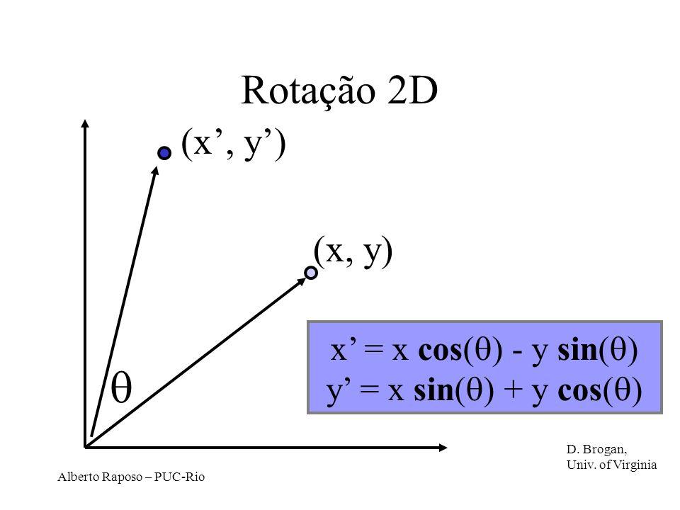 Alberto Raposo – PUC-Rio Rotação 2D (x, y) x = x cos( ) - y sin( ) y = x sin( ) + y cos( ) D.