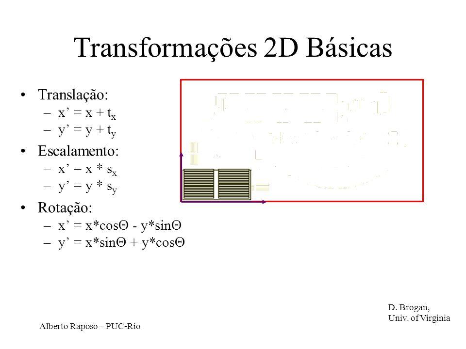 Alberto Raposo – PUC-Rio Transformações 2D Básicas Translação: –x = x + t x –y = y + t y Escalamento: –x = x * s x –y = y * s y Rotação: –x = x*cos - y*sin –y = x*sin + y*cos D.
