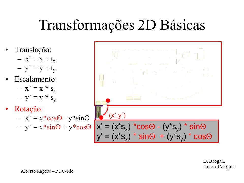 Alberto Raposo – PUC-Rio x = (x*s x ) *cos - (y*s y ) * sin y = (x*s x ) * sin + (y*s y ) * cos (x,y) Translação: –x = x + t x –y = y + t y Escalamento: –x = x * s x –y = y * s y Rotação: –x = x*cos - y*sin –y = x*sin + y*cos D.