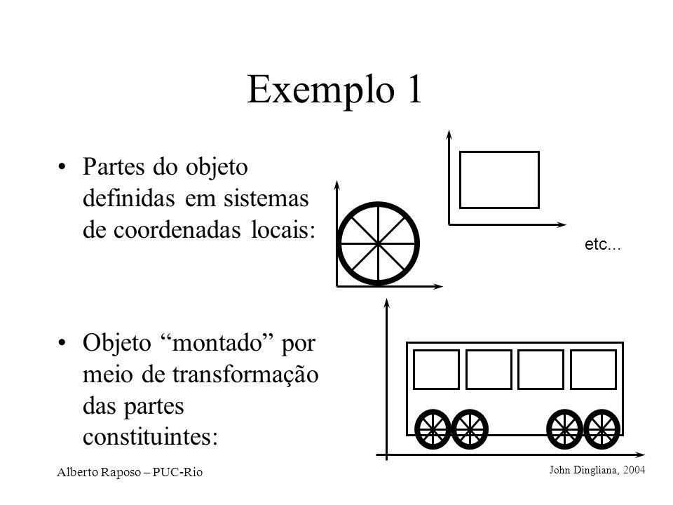 Alberto Raposo – PUC-Rio 5 etapas de uma animação de um cubo girando Exemplo 2 A cada quadro da animação, o objeto é transformado (rotação, nesse caso).