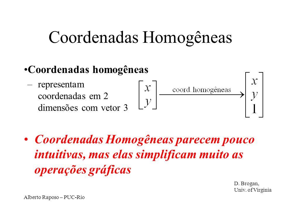 Alberto Raposo – PUC-Rio Coordenadas Homogêneas Coordenadas homogêneas –representam coordenadas em 2 dimensões com vetor 3 Coordenadas Homogêneas parecem pouco intuitivas, mas elas simplificam muito as operações gráficas D.