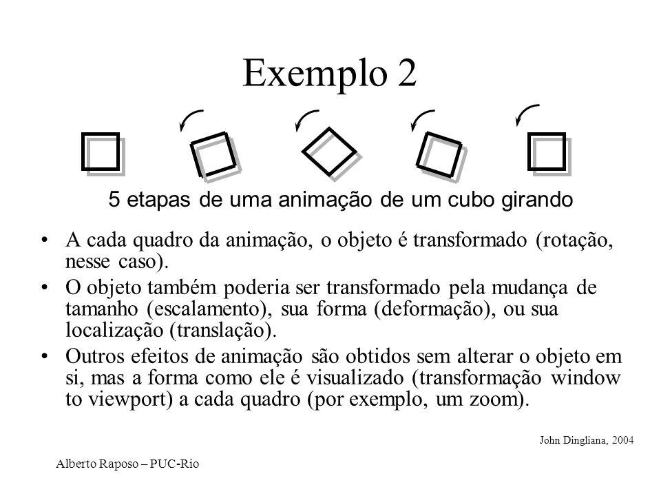 Alberto Raposo – PUC-Rio Translação: –x = x + t x –y = y + t y Escalamento: –x = x * s x –y = y * s y Rotação: –x = x*cos - y*sin –y = x*sin + y*cos x = x*s x y = y*s y (x,y) Transformações 2D Básicas D.