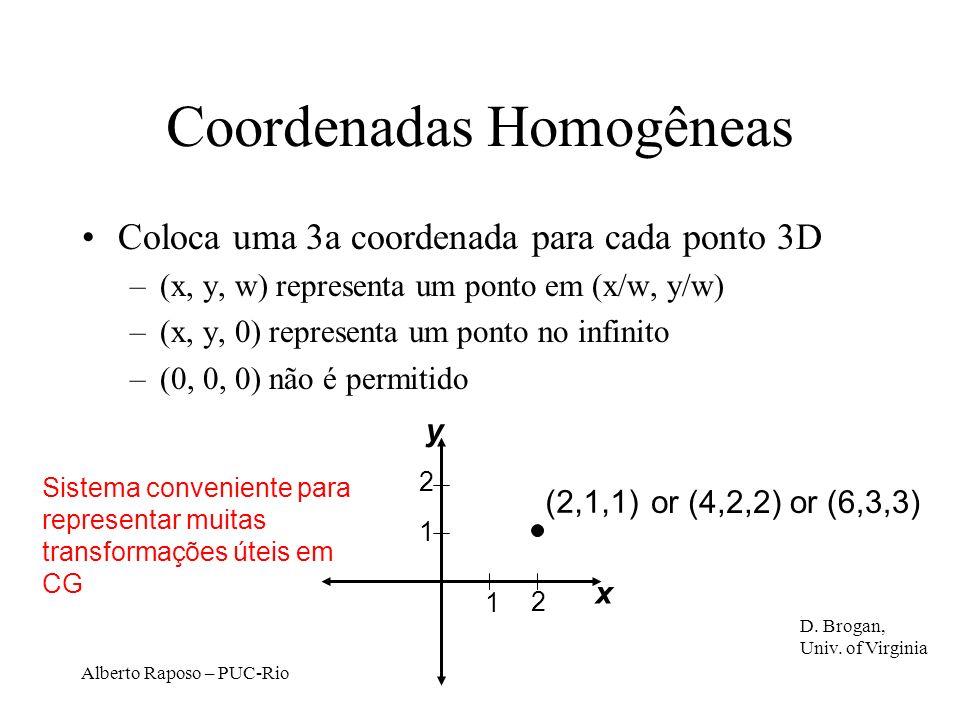 Alberto Raposo – PUC-Rio Coordenadas Homogêneas Coloca uma 3a coordenada para cada ponto 3D –(x, y, w) representa um ponto em (x/w, y/w) –(x, y, 0) representa um ponto no infinito –(0, 0, 0) não é permitido Sistema conveniente para representar muitas transformações úteis em CG 1 2 1 2 (2,1,1) or (4,2,2)or (6,3,3) x y D.