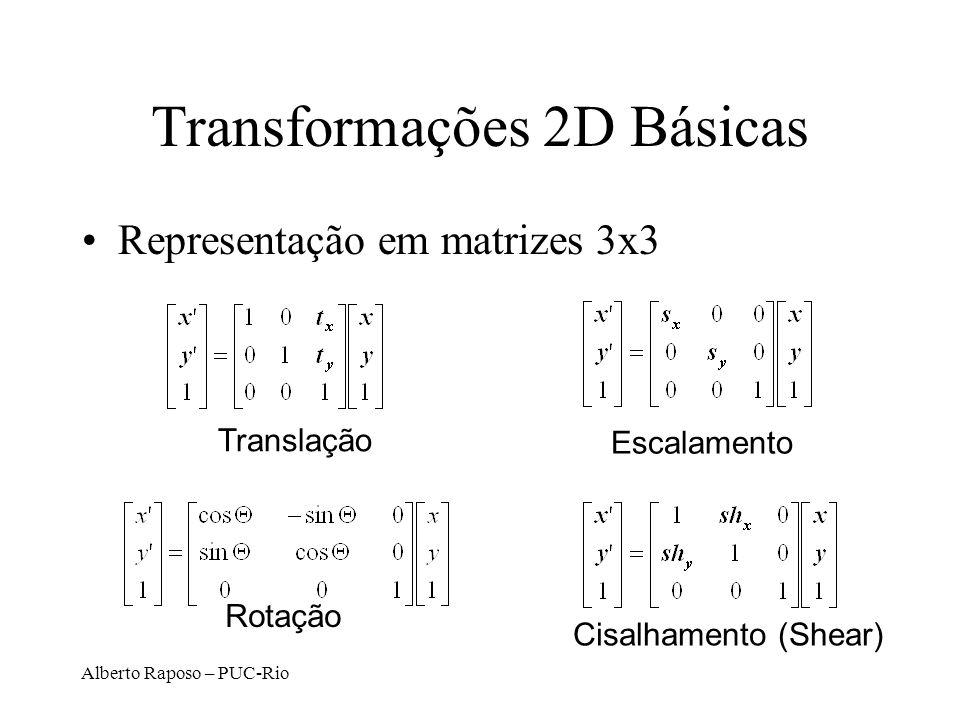 Alberto Raposo – PUC-Rio Transformações 2D Básicas Representação em matrizes 3x3 Translação Rotação Cisalhamento (Shear) Escalamento