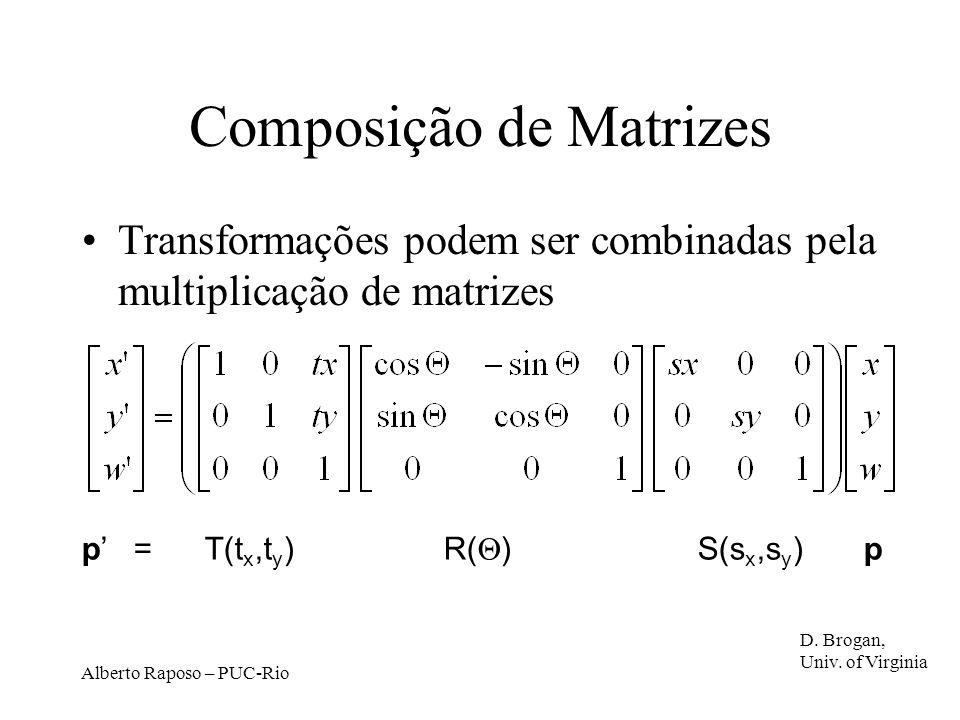 Alberto Raposo – PUC-Rio Composição de Matrizes Transformações podem ser combinadas pela multiplicação de matrizes p = T(t x,t y ) R( ) S(s x,s y ) p D.
