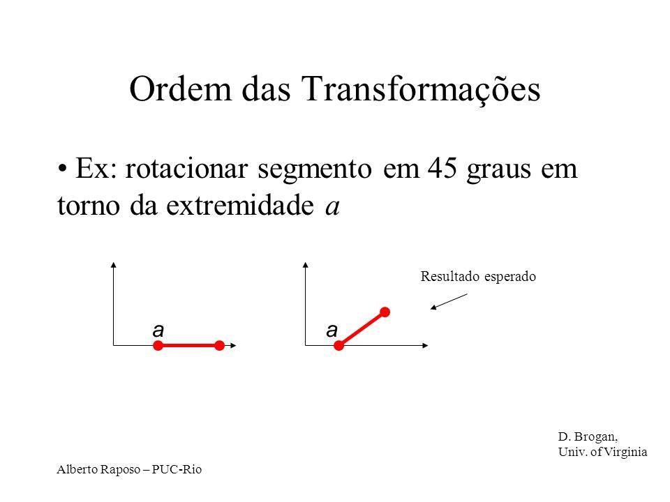 Alberto Raposo – PUC-Rio Ordem das Transformações Ex: rotacionar segmento em 45 graus em torno da extremidade a aa Resultado esperado D.
