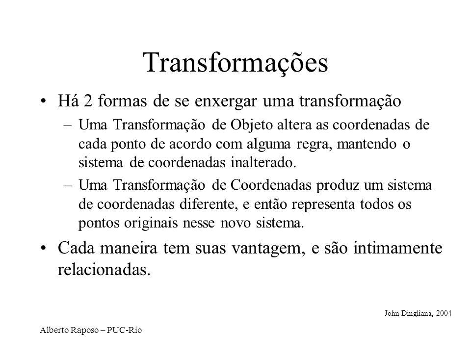 Alberto Raposo – PUC-Rio Transformações Há 2 formas de se enxergar uma transformação –Uma Transformação de Objeto altera as coordenadas de cada ponto de acordo com alguma regra, mantendo o sistema de coordenadas inalterado.
