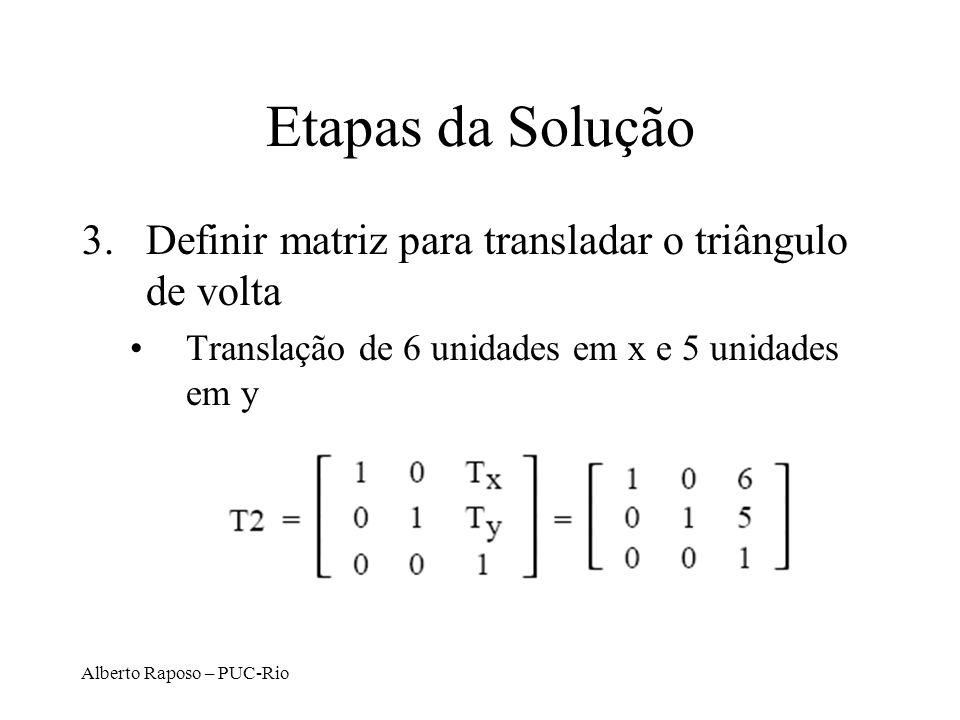 Alberto Raposo – PUC-Rio Etapas da Solução 3.Definir matriz para transladar o triângulo de volta Translação de 6 unidades em x e 5 unidades em y