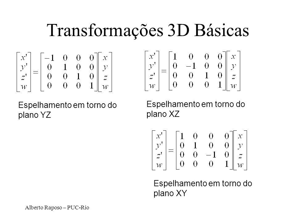 Alberto Raposo – PUC-Rio Transformações 3D Básicas Espelhamento em torno do plano YZ Espelhamento em torno do plano XZ Espelhamento em torno do plano XY