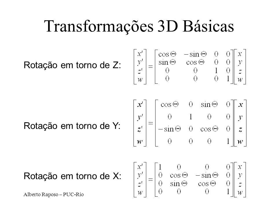 Alberto Raposo – PUC-Rio Transformações 3D Básicas Rotação em torno de Z: Rotação em torno de Y: Rotação em torno de X: