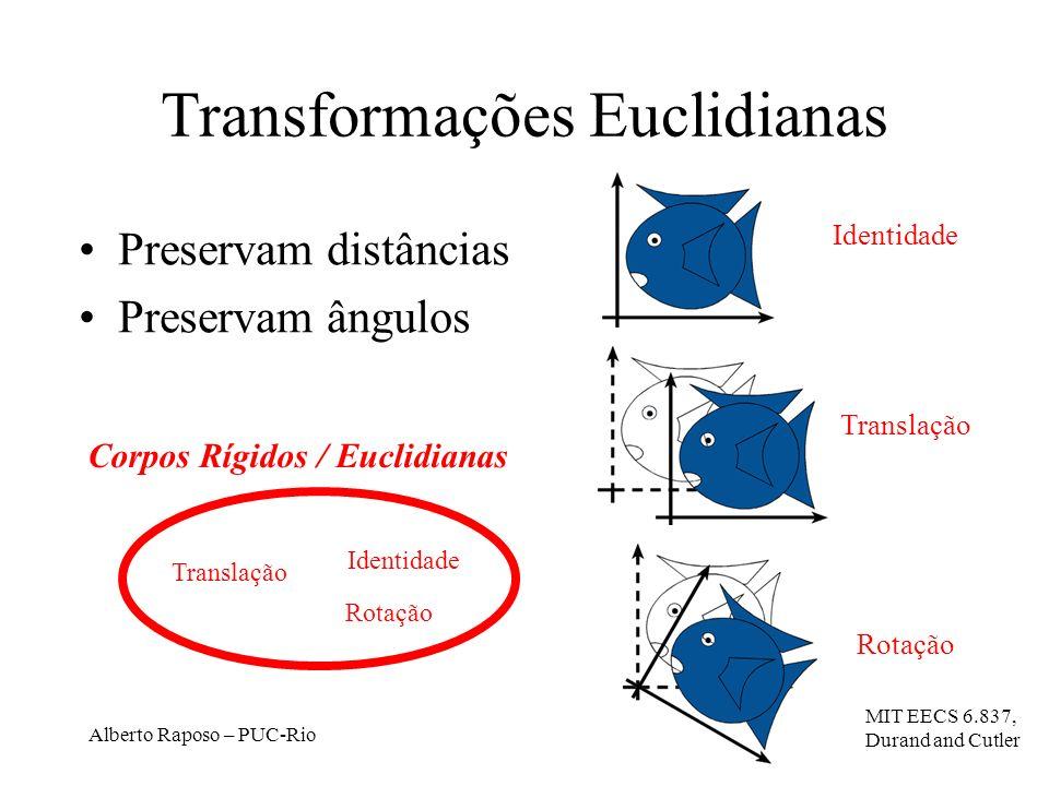 Alberto Raposo – PUC-Rio Transformações Euclidianas Preservam distâncias Preservam ângulos Translação Rotação Corpos Rígidos / Euclidianas Identidade Translação Rotação MIT EECS 6.837, Durand and Cutler