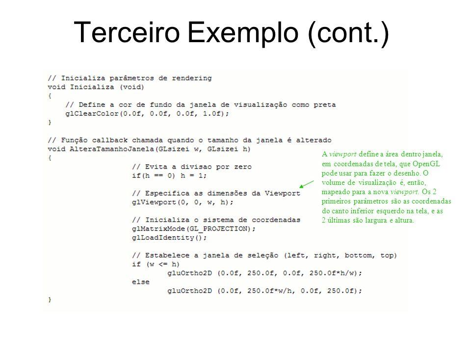 Terceiro Exemplo (cont.) A viewport define a área dentro janela, em coordenadas de tela, que OpenGL pode usar para fazer o desenho. O volume de visual