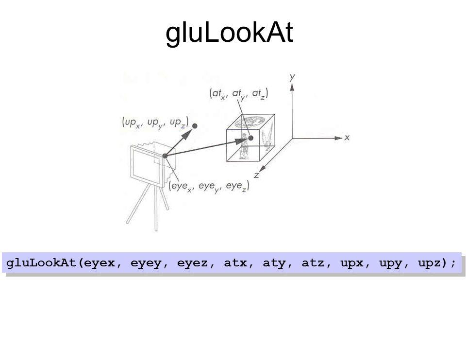 gluLookAt gluLookAt(eyex, eyey, eyez, atx, aty, atz, upx, upy, upz);