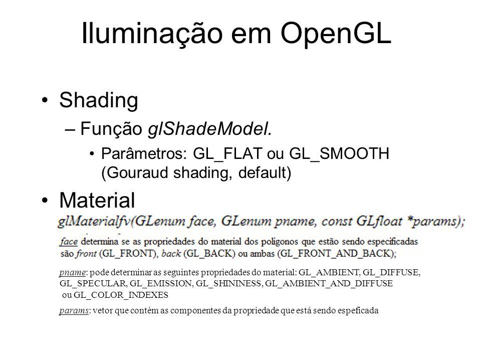 Iluminação em OpenGL Shading –Função glShadeModel. Parâmetros: GL_FLAT ou GL_SMOOTH (Gouraud shading, default) Material pname: pode determinar as segu