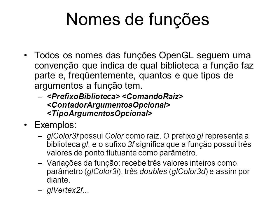 Nomes de funções Todos os nomes das funções OpenGL seguem uma convenção que indica de qual biblioteca a função faz parte e, freqüentemente, quantos e