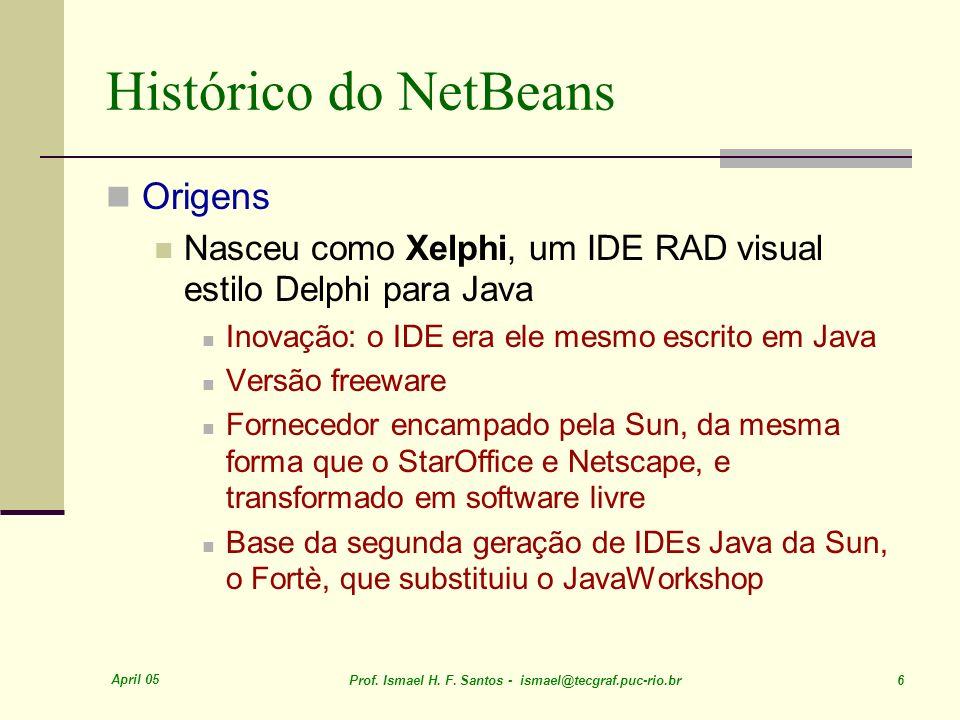April 05 Prof. Ismael H. F. Santos - ismael@tecgraf.puc-rio.br 6 Histórico do NetBeans Origens Nasceu como Xelphi, um IDE RAD visual estilo Delphi par