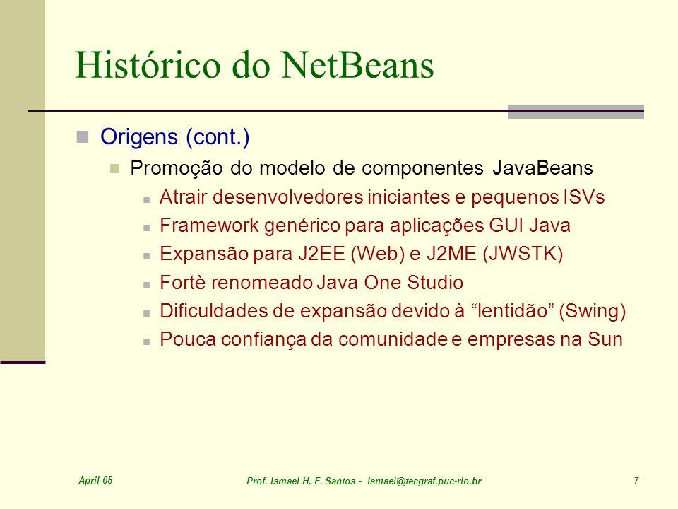 April 05 Prof. Ismael H. F. Santos - ismael@tecgraf.puc-rio.br 7 Histórico do NetBeans Origens (cont.) Promoção do modelo de componentes JavaBeans Atr