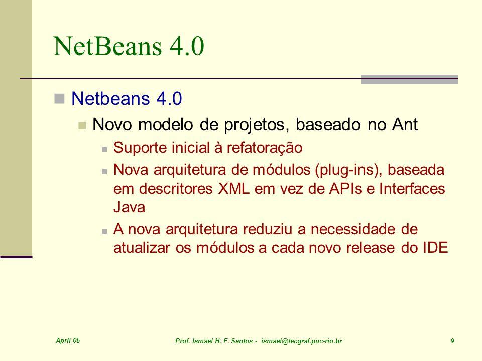 April 05 Prof. Ismael H. F. Santos - ismael@tecgraf.puc-rio.br 9 NetBeans 4.0 Netbeans 4.0 Novo modelo de projetos, baseado no Ant Suporte inicial à r