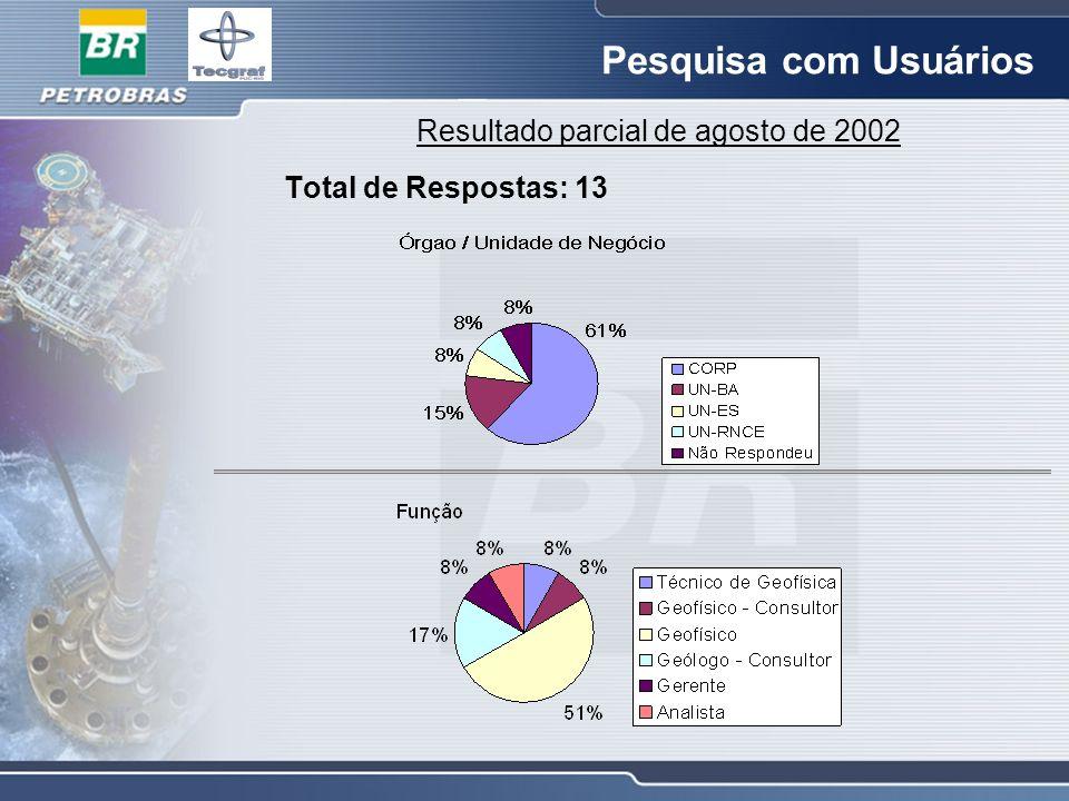Pesquisa com Usuários Resultado parcial de agosto de 2002 Total de Respostas: 13