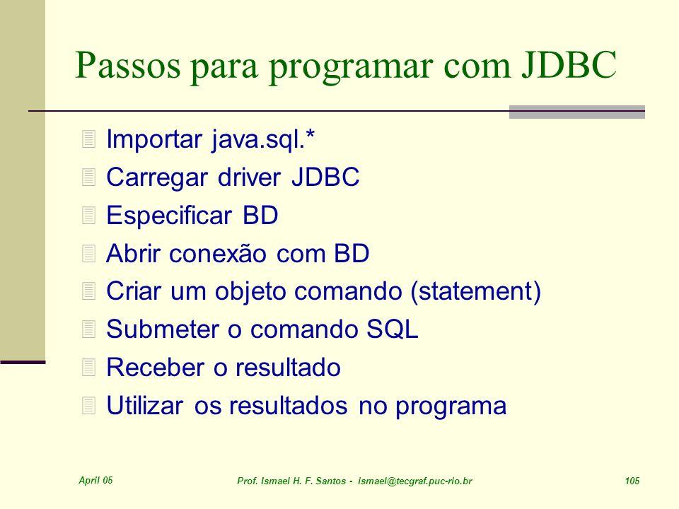 April 05 Prof. Ismael H. F. Santos - ismael@tecgraf.puc-rio.br 105 Passos para programar com JDBC 3 Importar java.sql.* 3 Carregar driver JDBC 3 Espec
