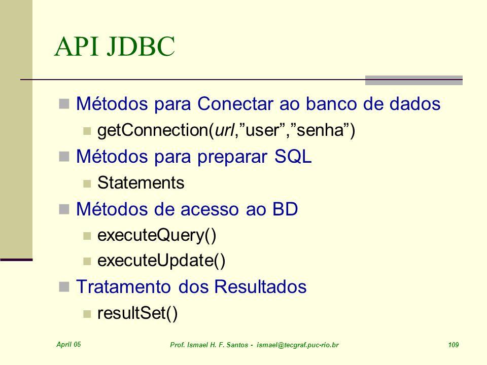 April 05 Prof. Ismael H. F. Santos - ismael@tecgraf.puc-rio.br 109 API JDBC Métodos para Conectar ao banco de dados getConnection(url,user,senha) Méto
