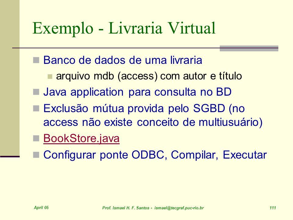 April 05 Prof. Ismael H. F. Santos - ismael@tecgraf.puc-rio.br 111 Exemplo - Livraria Virtual Banco de dados de uma livraria arquivo mdb (access) com
