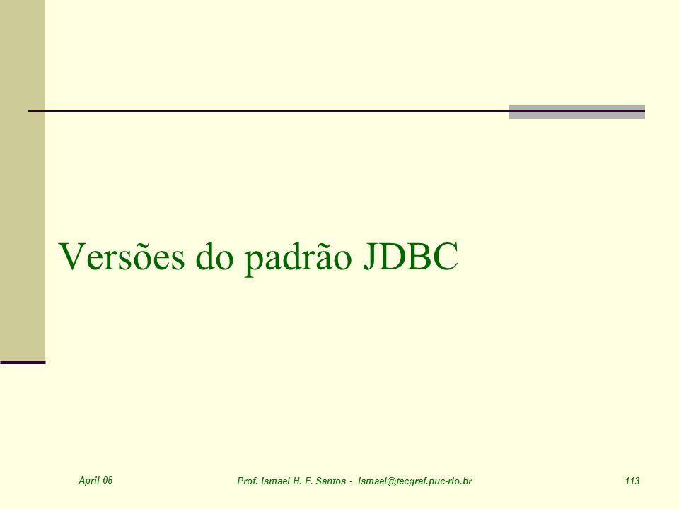 April 05 Prof. Ismael H. F. Santos - ismael@tecgraf.puc-rio.br 113 Versões do padrão JDBC