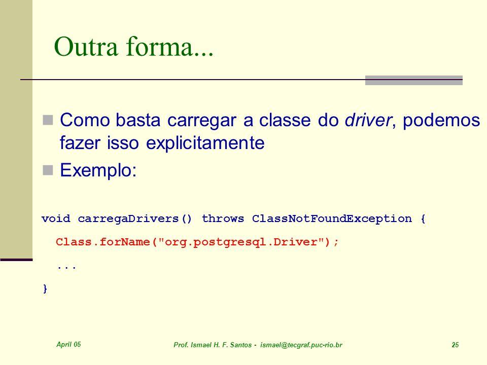 April 05 Prof. Ismael H. F. Santos - ismael@tecgraf.puc-rio.br 25 Outra forma... Como basta carregar a classe do driver, podemos fazer isso explicitam