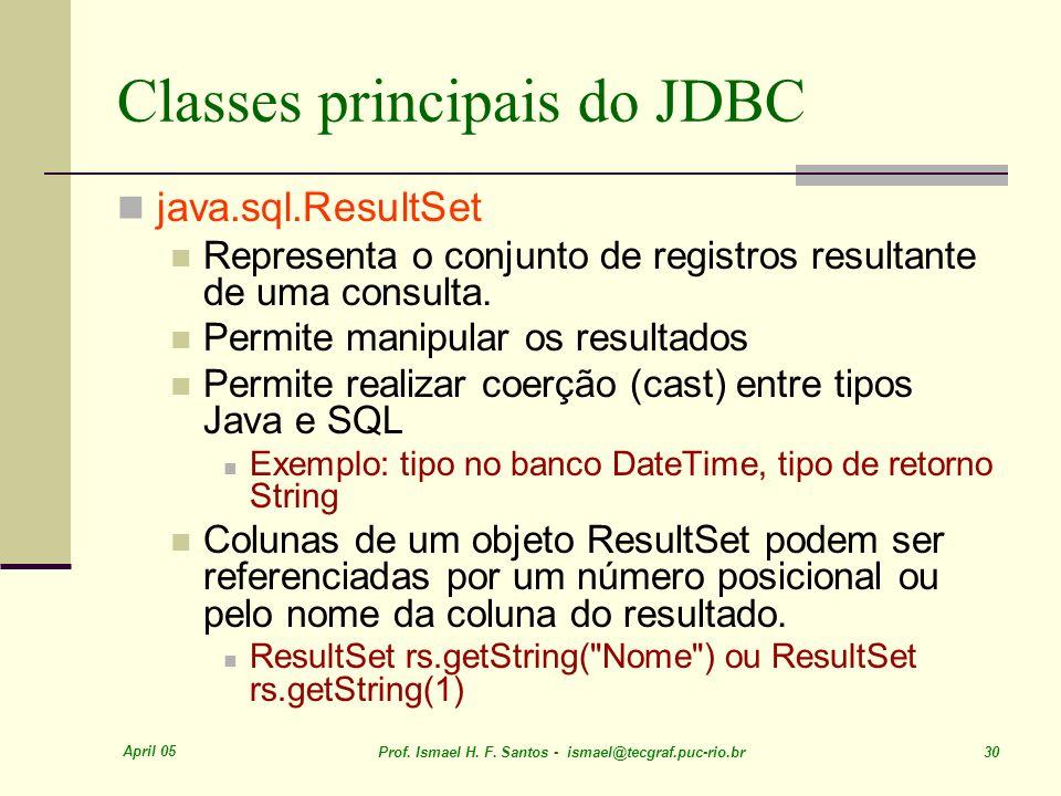 April 05 Prof. Ismael H. F. Santos - ismael@tecgraf.puc-rio.br 30 Classes principais do JDBC java.sql.ResultSet Representa o conjunto de registros res