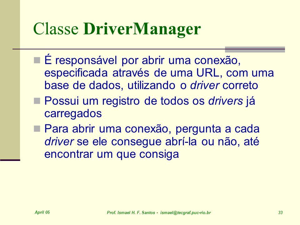 April 05 Prof. Ismael H. F. Santos - ismael@tecgraf.puc-rio.br 33 Classe DriverManager É responsável por abrir uma conexão, especificada através de um