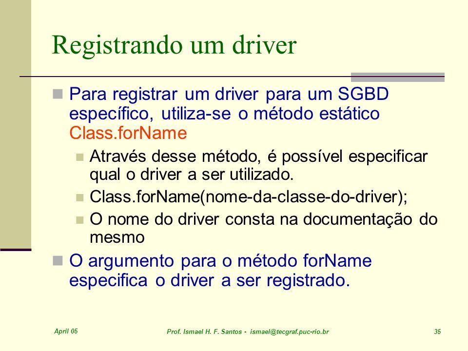 April 05 Prof. Ismael H. F. Santos - ismael@tecgraf.puc-rio.br 35 Registrando um driver Para registrar um driver para um SGBD específico, utiliza-se o
