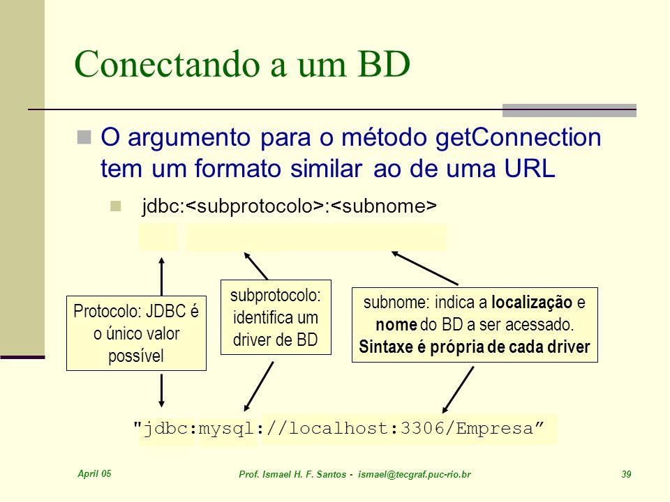 April 05 Prof. Ismael H. F. Santos - ismael@tecgraf.puc-rio.br 39 Conectando a um BD subnome: indica a localização e nome do BD a ser acessado. Sintax