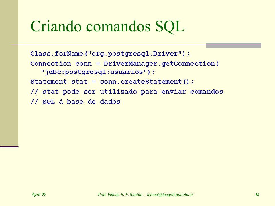 April 05 Prof. Ismael H. F. Santos - ismael@tecgraf.puc-rio.br 48 Criando comandos SQL Class.forName(
