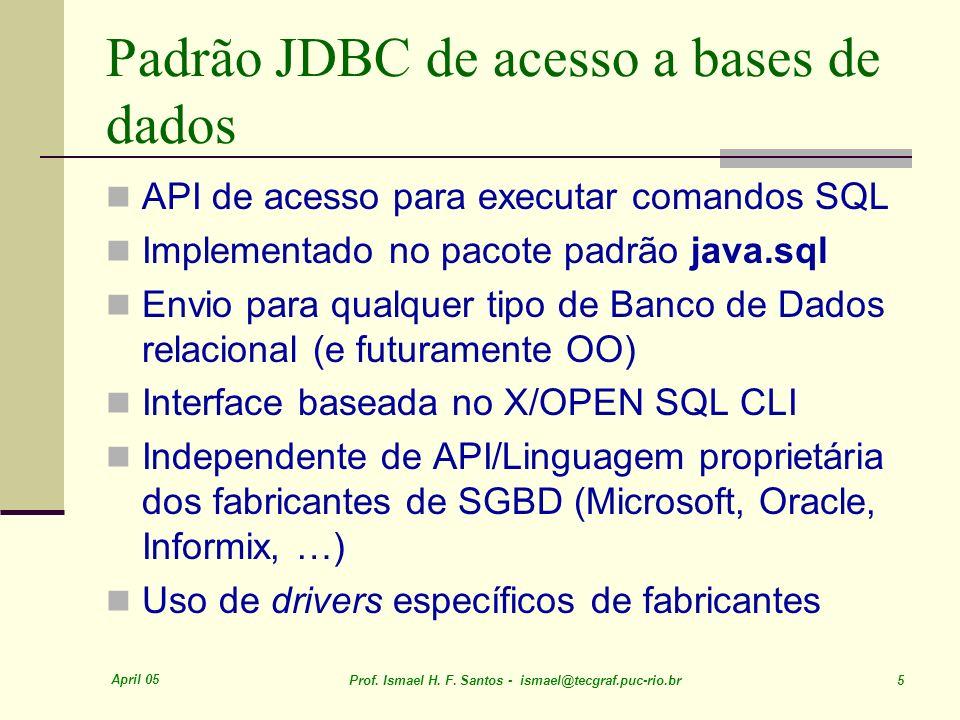 April 05 Prof. Ismael H. F. Santos - ismael@tecgraf.puc-rio.br 5 Padrão JDBC de acesso a bases de dados API de acesso para executar comandos SQL Imple