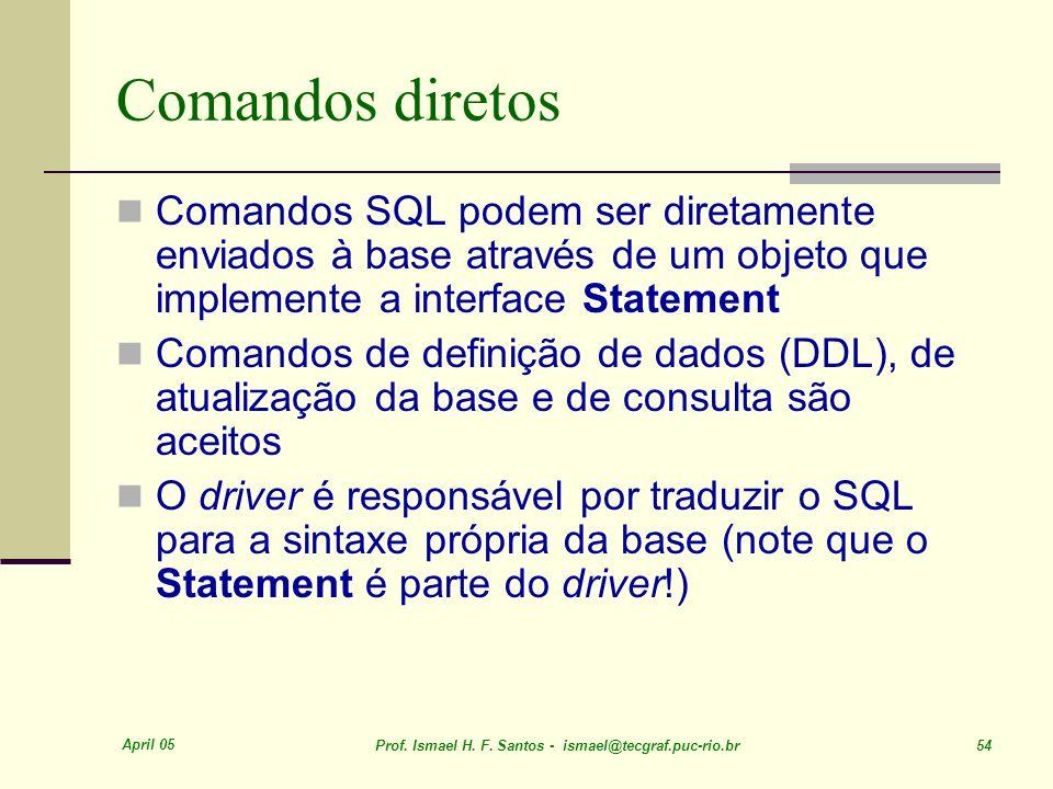 April 05 Prof. Ismael H. F. Santos - ismael@tecgraf.puc-rio.br 54 Comandos diretos Comandos SQL podem ser diretamente enviados à base através de um ob