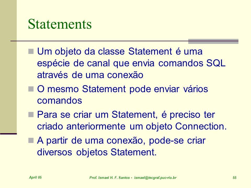 April 05 Prof. Ismael H. F. Santos - ismael@tecgraf.puc-rio.br 55 Statements Um objeto da classe Statement é uma espécie de canal que envia comandos S