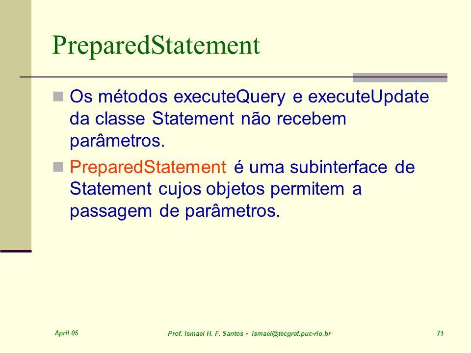 April 05 Prof. Ismael H. F. Santos - ismael@tecgraf.puc-rio.br 71 PreparedStatement Os métodos executeQuery e executeUpdate da classe Statement não re