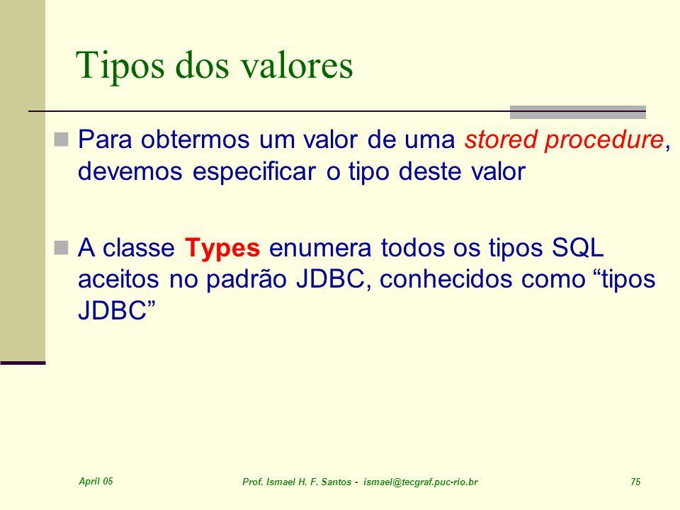 April 05 Prof. Ismael H. F. Santos - ismael@tecgraf.puc-rio.br 75 Tipos dos valores Para obtermos um valor de uma stored procedure, devemos especifica