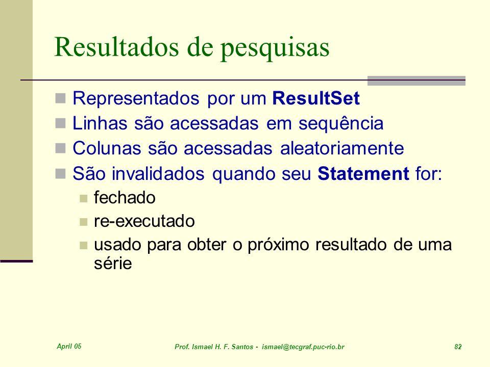 April 05 Prof. Ismael H. F. Santos - ismael@tecgraf.puc-rio.br 82 Resultados de pesquisas Representados por um ResultSet Linhas são acessadas em sequê