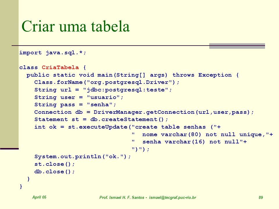April 05 Prof. Ismael H. F. Santos - ismael@tecgraf.puc-rio.br 89 import java.sql.*; class CriaTabela { public static void main(String[] args) throws
