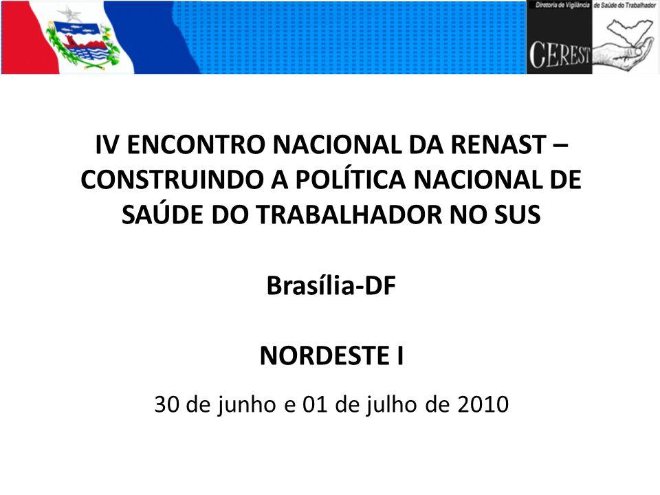 IV ENCONTRO NACIONAL DA RENAST – CONSTRUINDO A POLÍTICA NACIONAL DE SAÚDE DO TRABALHADOR NO SUS Brasília-DF NORDESTE I 30 de junho e 01 de julho de 20