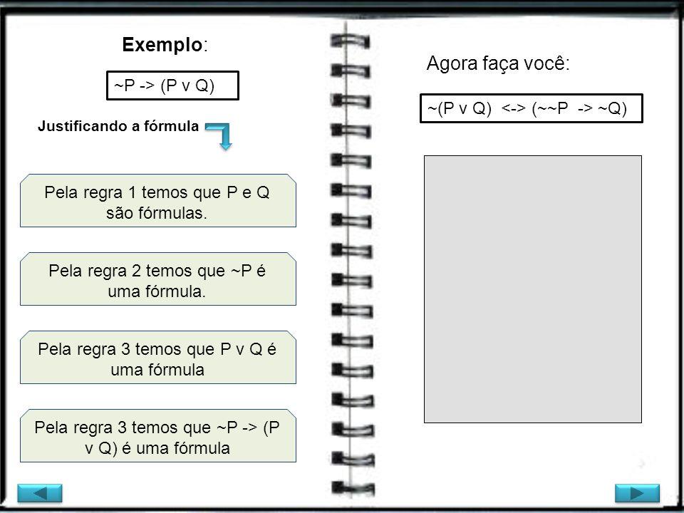 Exemplo: Pela regra 3 temos que ~P -> (P v Q) é uma fórmula ~P -> (P v Q) Pela regra 1 temos que P e Q são fórmulas. Pela regra 2 temos que ~P é uma f