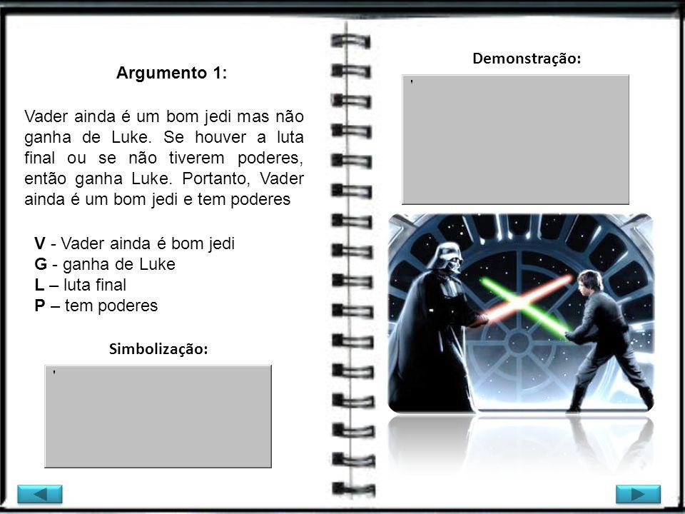 Argumento 1: V - Vader ainda é bom jedi G - ganha de Luke L – luta final P – tem poderes Vader ainda é um bom jedi mas não ganha de Luke. Se houver a
